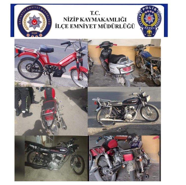 Nizip'te 7 adet çalıntı motosiklet ve 1 ruhsatsız tabanca yakakandı
